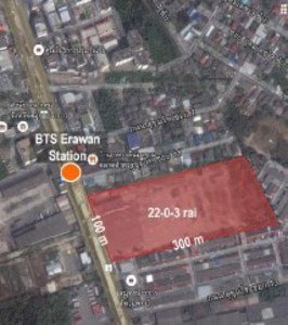 22-0-13 rai of Vacant Land near BTS Erawan Station Sukhumvit Road View1